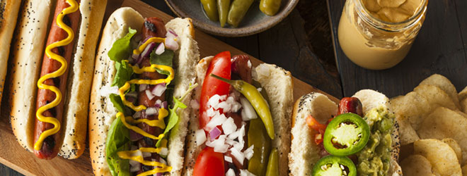Hot dogs and toppings. Kosher products are certified through QAI's STAR-K partnership.