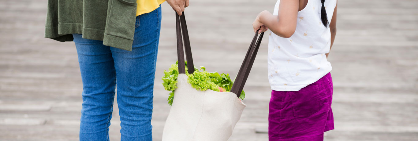 Mother and daughter carrying a grocery bag. Gluten-free, non-GMO, kosher and sustainability are QAI certifications your family cares about.